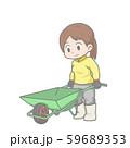 一輪車を押す女性のイラスト 59689353