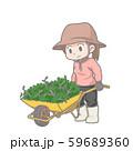 一輪車を押す女性のイラスト 59689360