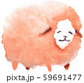 ゆるい感じの水彩イラストの羊 59691477