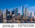 《ニューヨーク》マンハッタンの摩天楼とブルックリンブリッジ 59703396