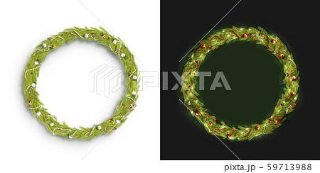 Decorative christmas round wreath mockup isolated 59713988