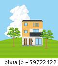 丘の上に建つ青空背景の一戸建て、一軒家のイラスト(二階建て)_マイホーム、木造住宅_ベクターデータ 59722422