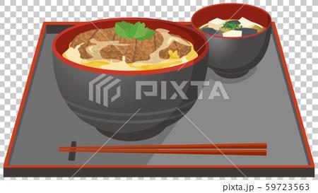 Illustration of katsudon and miso soup 59723563