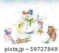 雪だるまを作る動物たち 59727849