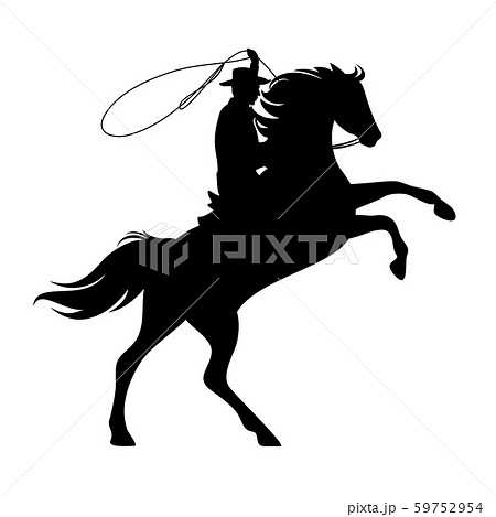 wild west cowboy with lasso and horse black and white vector silhouette 59752954
