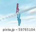 CG 3D イラスト 立体 デザイン シルエット 階段をのぼる男性と女性 59765104