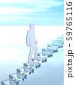 CG 3D イラスト 立体 デザイン シルエット 階段をのぼる男性と女性 59765116
