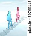 CG 3D イラスト 立体 デザイン シルエット 階段をのぼる男性と女性 59765118