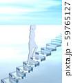 CG 3D イラスト 立体 デザイン シルエット 階段をのぼる男性と女性 59765127