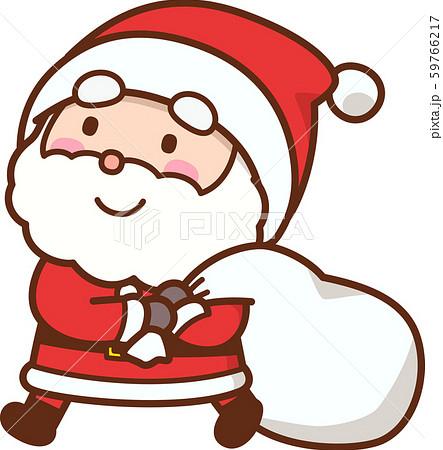 プレゼントの袋を抱えたサンタクロース 59766217