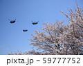 桜と陸上自衛隊のヘリコプター 59777752