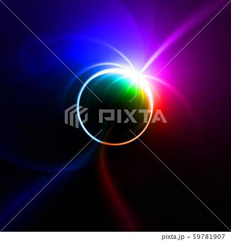 カラフルな光に包まれた惑星 59781907