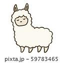 シンプルなアルパカのイラスト(眠り顔) 59783465