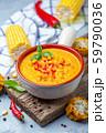 Creamy corn soup with chili. 59790036