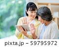 タブレット端末を操作する親子 母子 シニア女性 ミドル女性 2人 59795972