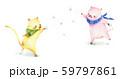 雪合戦する動物 59797861