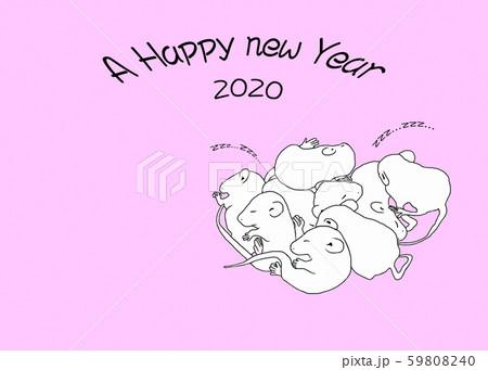 年賀状 ネズミの赤ちゃん-2 59808240