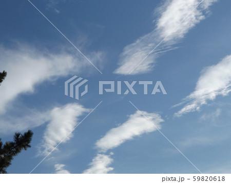 秋の朝の白い雲と青い空 59820618