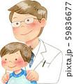 子供の肩に手を置く医者 59836677