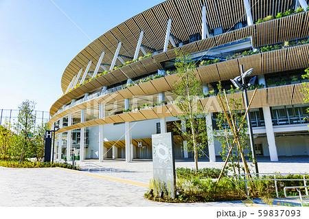 新国立競技場 国立競技場 風景 日本 東京 オリンピック スタジアム 快晴 青空 アップ 完成 竣工 59837093