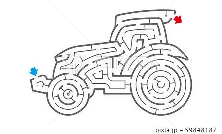 トラクターの迷路(塗り絵) 59848187