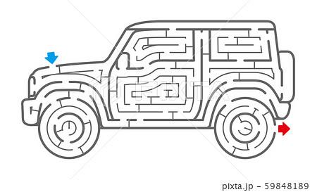 四輪駆動車の迷路(塗り絵) 59848189