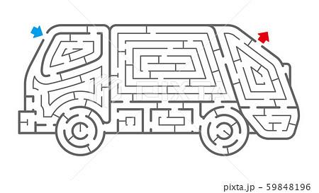 ゴミ収集車の迷路(塗り絵) 59848196