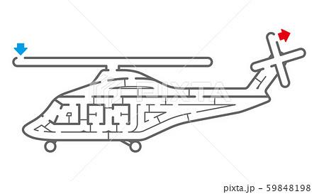 ヘリコプターの迷路(塗り絵) 59848198
