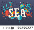 Sea creatures in flat style typographic poster, vector illustration. Ocean underwater world, octopus 59859227