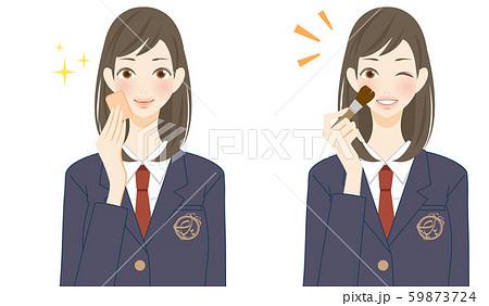 ファンデーションを塗る女子高生 美容 綺麗な肌 キラキラ スポンジ ブラシ 59873724