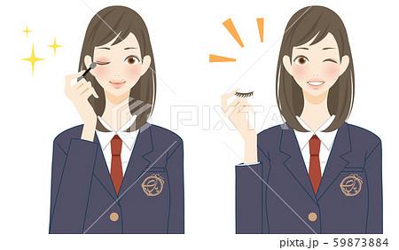 化粧 メイク道具 つけまつ毛を持つ女子高生 アイシャドウ 59873884