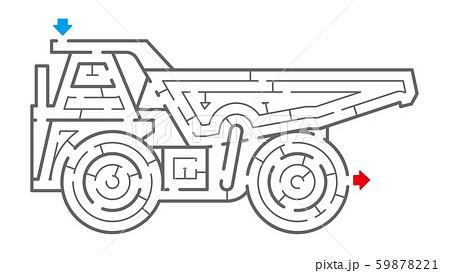 オフロードダンプトラックの迷路(塗り絵) 59878221