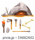 Stone age tools and cave isolated icon, history and primitive weapon 59882602
