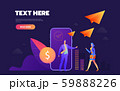 Donation online concept. mobile phone with a coin on the screen. Users are sending coins. Web banner 59888226