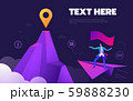 Business concept, Businessman is flying to the top of mountain while using telescope. Vector 59888230