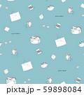 ハンドメイド線画パターン青 59898084