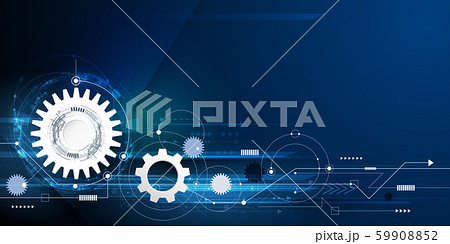 Vector illustration gear, wheel and circuit board, Hi-tech digital technology and engineering, Modern digital telecoms technology concept. Abstract futuristic on light blue color background 59908852