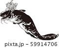 浮世絵 猫となまず その1 白黒 59914706