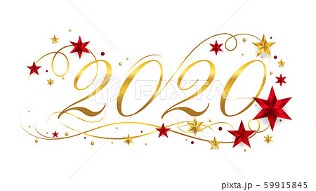 2020 Happy New Year lettering banner design with ornament for new year celebration 59915845