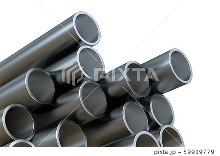 Steel pipes of isolated on white background. Glossy 3d rendering steel tubes design 59919779