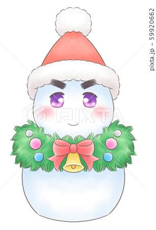 リース・マフラーの雪だるまサンタ・眉毛あり 59920662
