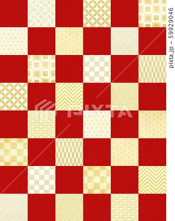 背景-和-和風-和柄-和紙-紅白-パターン-市松模様 59929046