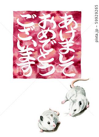 水彩で描いたねずみイラストの年賀状 59929265