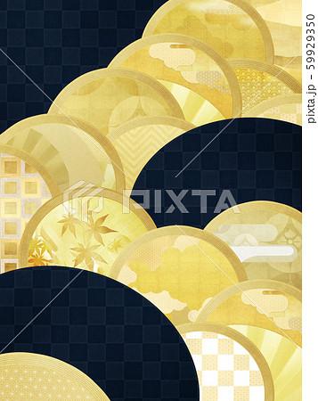 背景-和-和風-和柄-和紙-金箔-紺 59929350