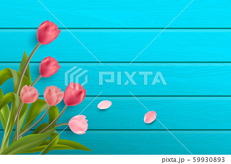 Beautiful Realistic Red and Pink Tulips flower placed on light blue wood background with copy space. Creative and Clean design in EPS10 vector illustration. 59930893
