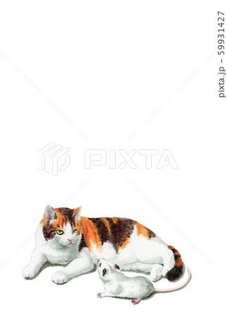 水彩で描いた三毛猫とねずみのイラストの年賀状 59931427