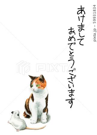 水彩で描いた三毛猫とねずみのイラストの年賀状 59931834