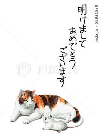 水彩で描いた三毛猫とねずみのイラストの年賀状 59931839