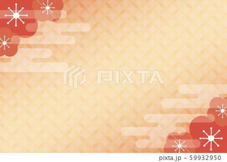 赤い梅の花と雲の和柄フレーム 59932950