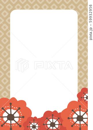 赤い梅の花とベージュ色の和柄のフレーム 59932956